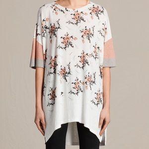 Allsaints Kirsh Tee Shirt Floral White Med/ Large